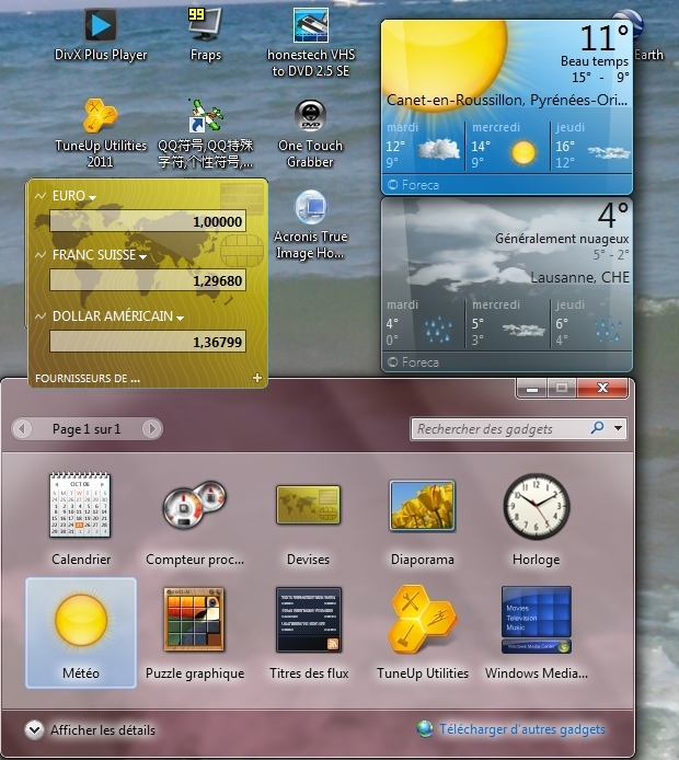 Windows 7 Seven ~GADGETS METEO, Devises...