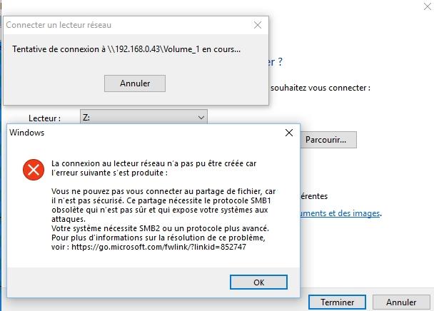 Windows 10: Votre système nécessite SMB2 ou un protocole